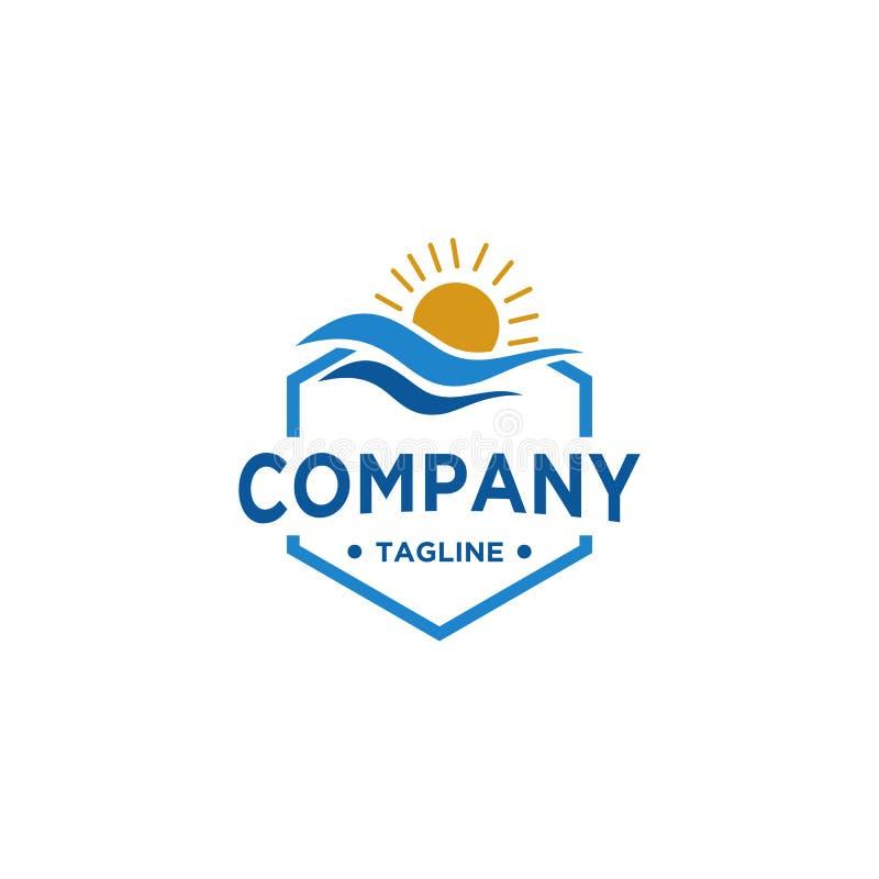 海和太阳商标设计 库存例证