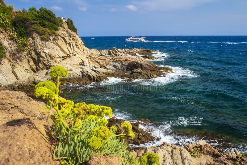 海和岩石海岸线在略雷特德马尔在晴朗的夏日 在肋前缘Brava的西班牙海景 库存图片