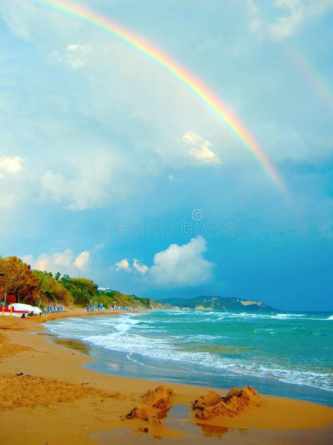海和彩虹 图库摄影