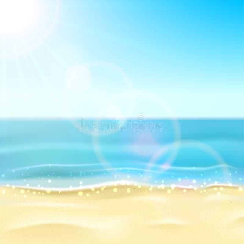 海和沙滩 皇族释放例证