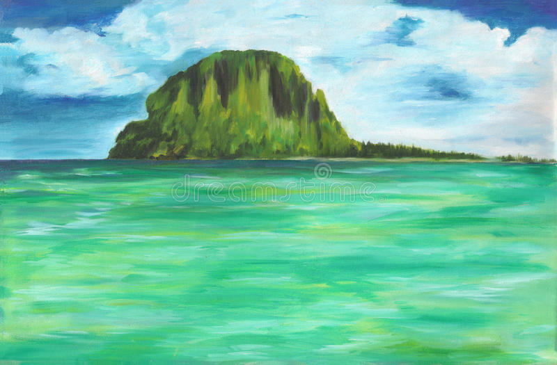 海和海岛原始的油画帆布的 有多云天空的五颜六色的海洋 向量例证