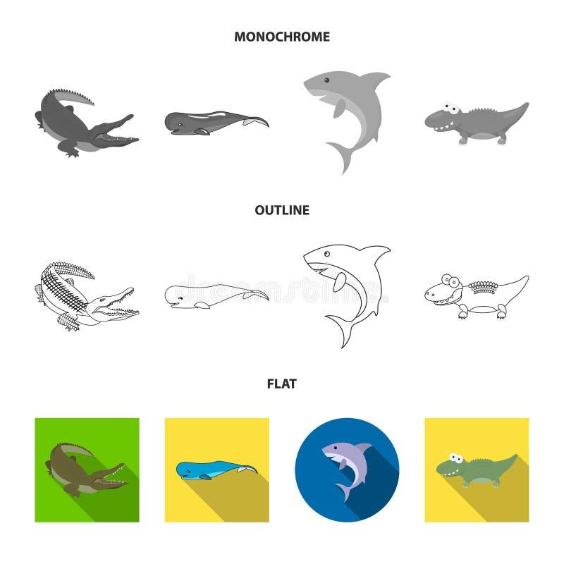 海和海洋商标传染媒介设计  设置海和爬行动物储蓄传染媒介例证 库存例证