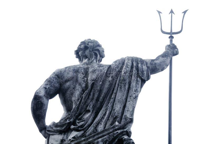 海和海洋海王星波塞冬的神古老雕象  免版税图库摄影