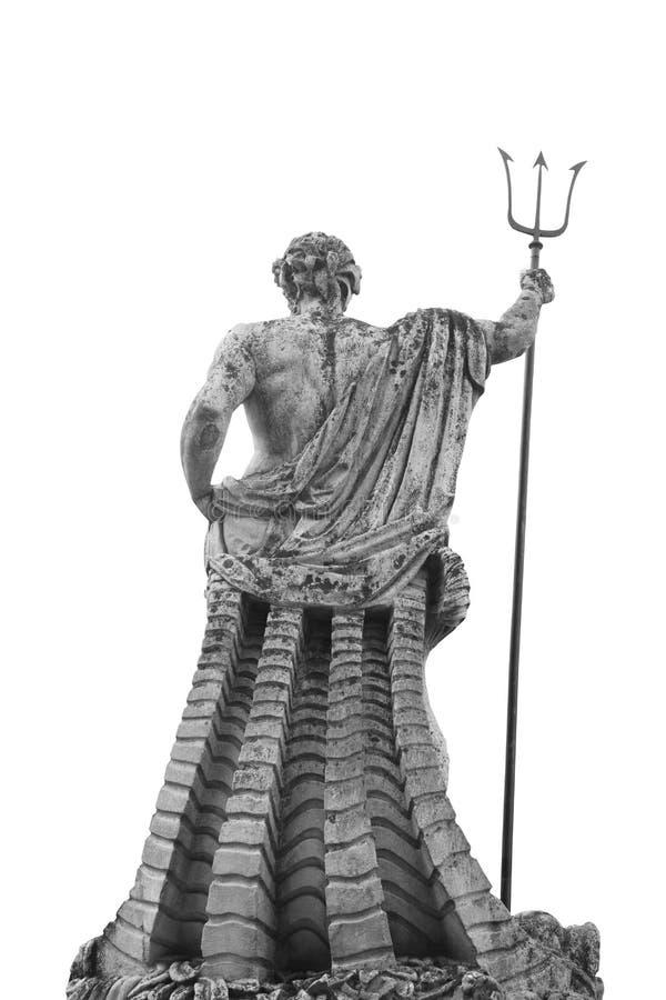 海和海洋海王星波塞冬的神古老雕象  免版税库存图片