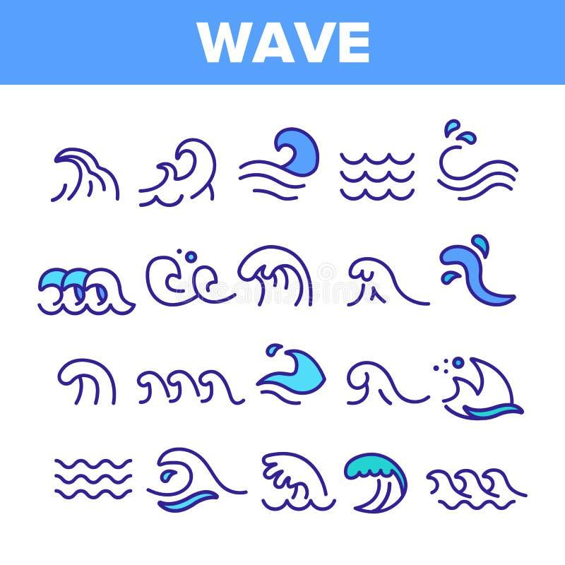 海和海浪导航线性象集合 向量例证