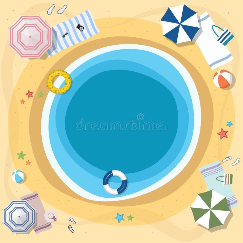 海和海滩、位于圈子的看法从上面和伞 库存例证