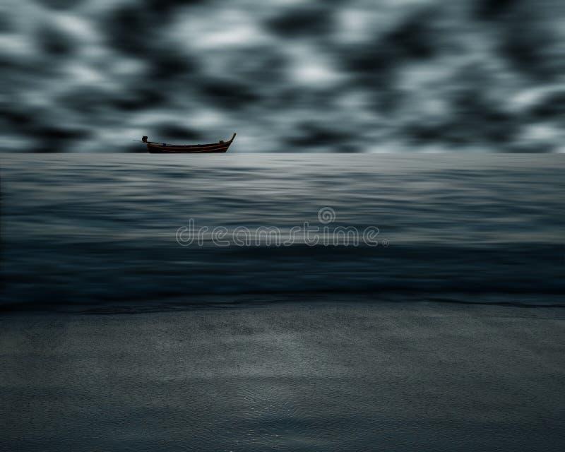 海和海滩与天空动乱的预兆,迷离行动 免版税库存照片
