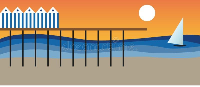 海和海滩在一个夏日 库存例证