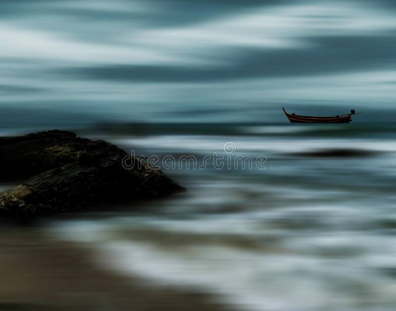 海和海滩风暴,迷离行动 免版税库存照片