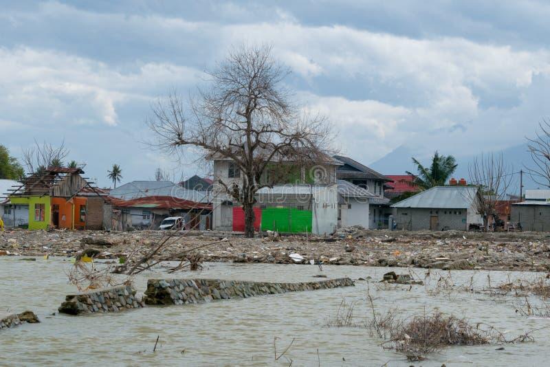 海啸冲击在帕卢海岸地区 免版税库存图片