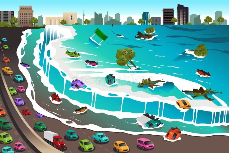 海啸场面  向量例证