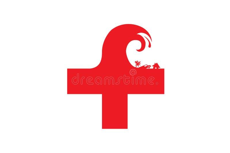 海啸援助的例证标志 皇族释放例证