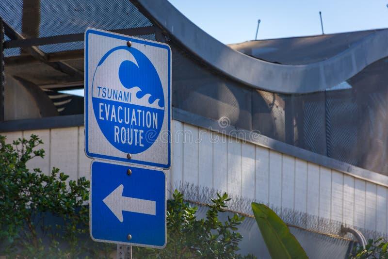 海啸撤离路线在南加利福尼亚 库存图片