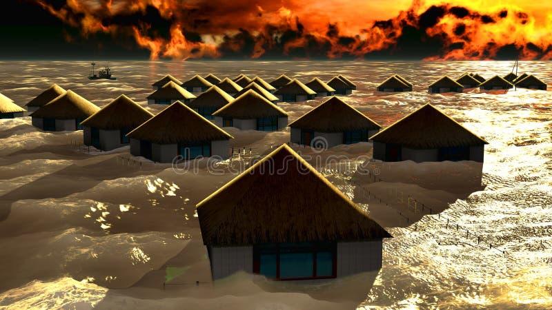 海啸毁坏的平房 皇族释放例证