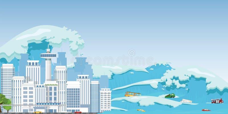 海啸波浪毁坏的城市 库存例证