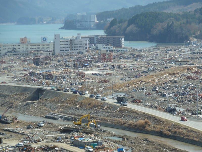 海啸的作用在日本 免版税图库摄影