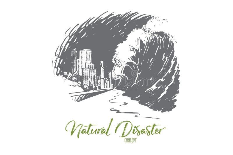 海啸,危险,波浪,灾害,海,地震概念 r 库存例证