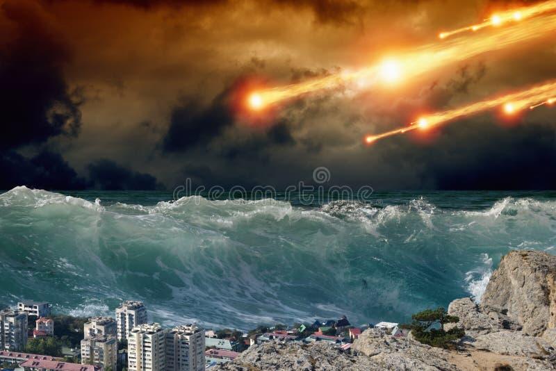 海啸,小行星冲击 库存图片