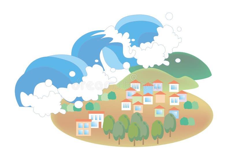 海啸-自然灾害图象 向量例证