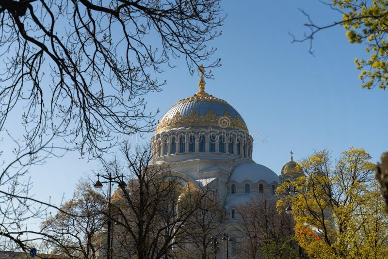 海圣尼古拉斯大教堂的圆顶在圣彼德堡俄罗斯 免版税库存照片