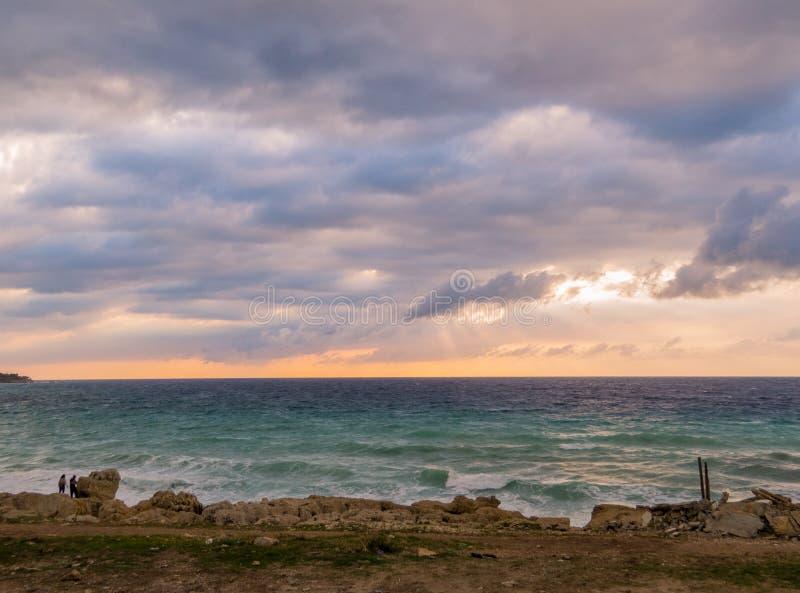 海在巴特伦,黎巴嫩 库存照片
