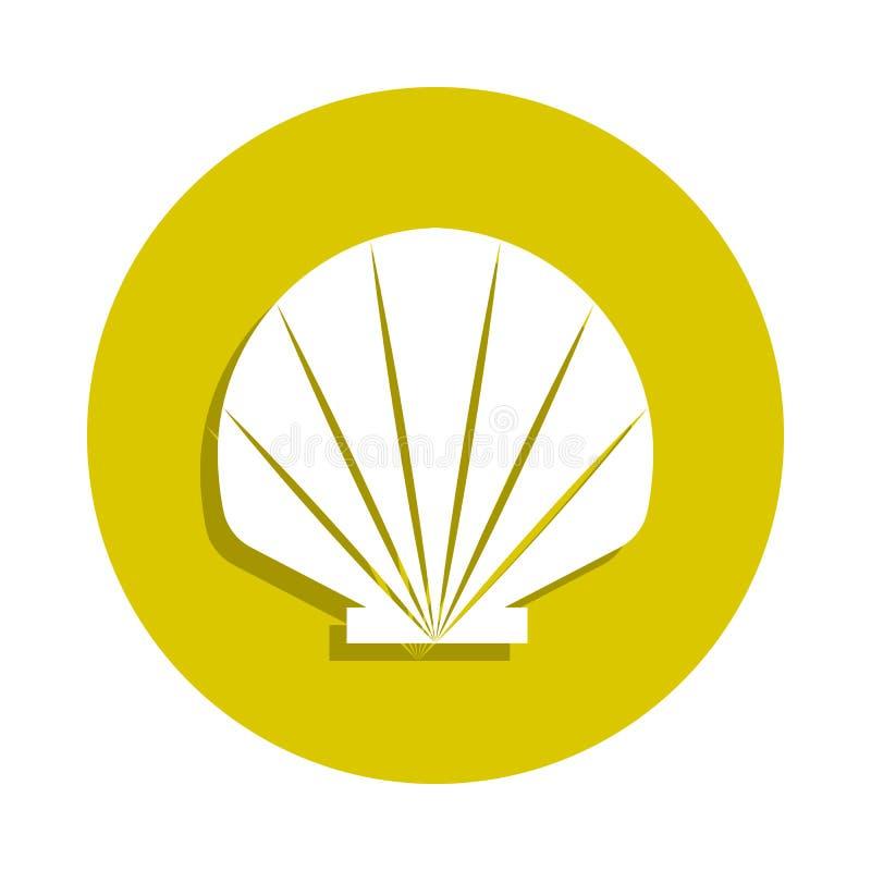 海在徽章样式的壳象 一sheashell海滩汇集象可以为UI, UX使用 皇族释放例证
