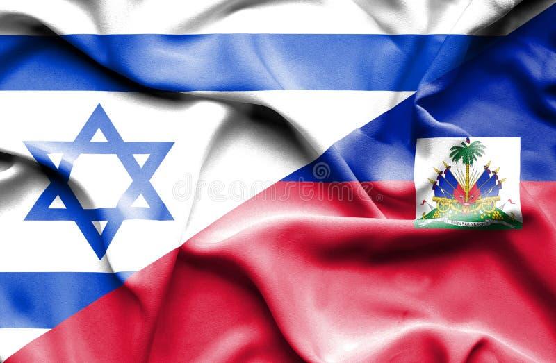 海地和以色列的挥动的旗子 向量例证