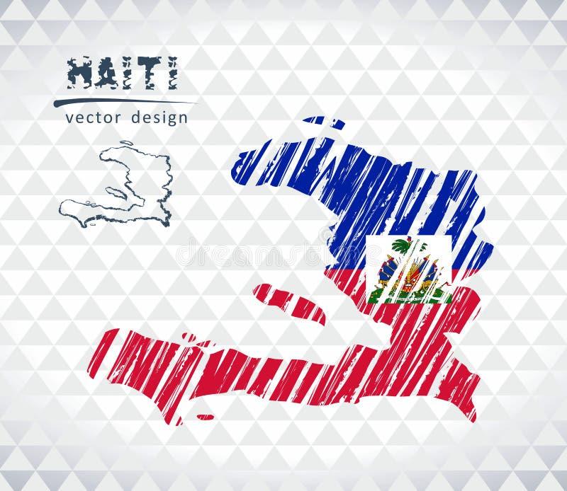 海地的地图有里面手拉的剪影笔地图的 也corel凹道例证向量 库存例证