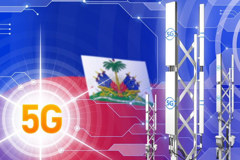 海地5G工业例证、巨大的多孔的网络帆柱或者塔在高科技背景与旗子- 3D例证 库存例证