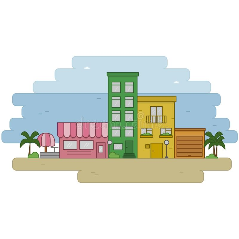 海城市 色的房子 库存例证