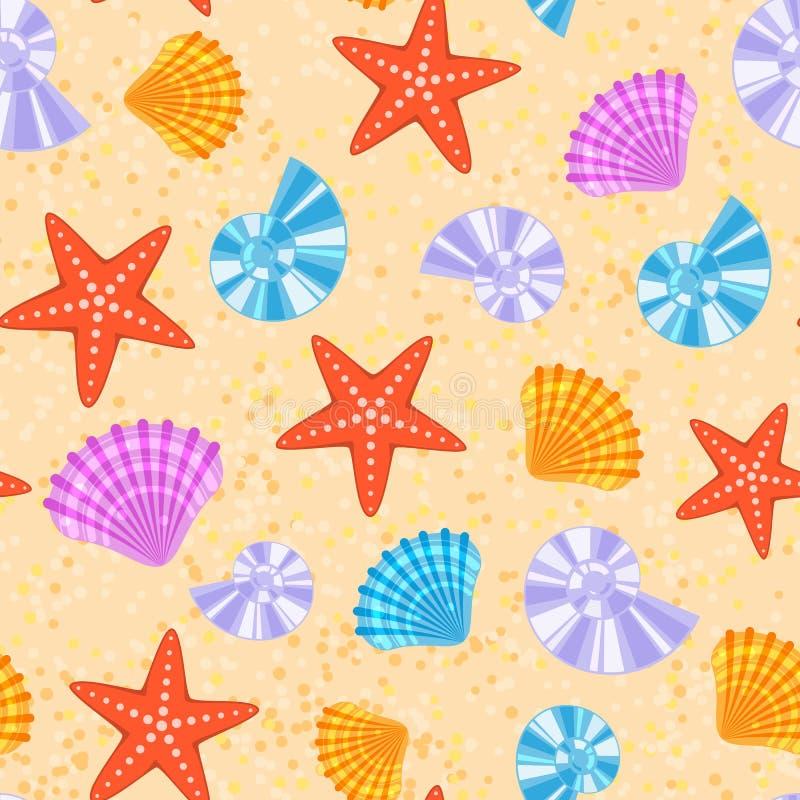 海壳和星海洋动画片蛤壳状机件无缝的样式背景导航例证 向量例证