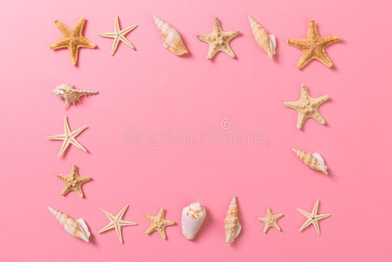 海壳和海星在桃红色背景和沙子 休假概念 免版税库存照片
