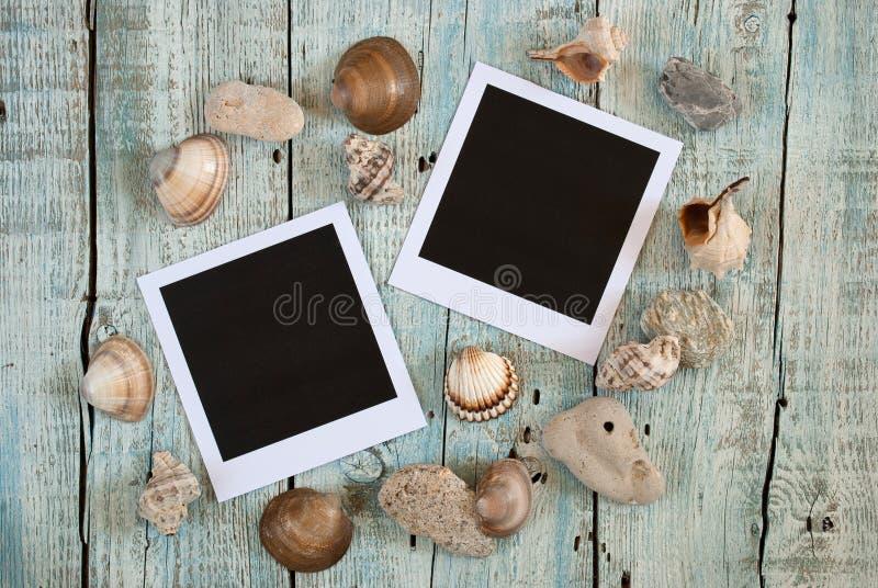 海壳和立即照片框架 库存图片
