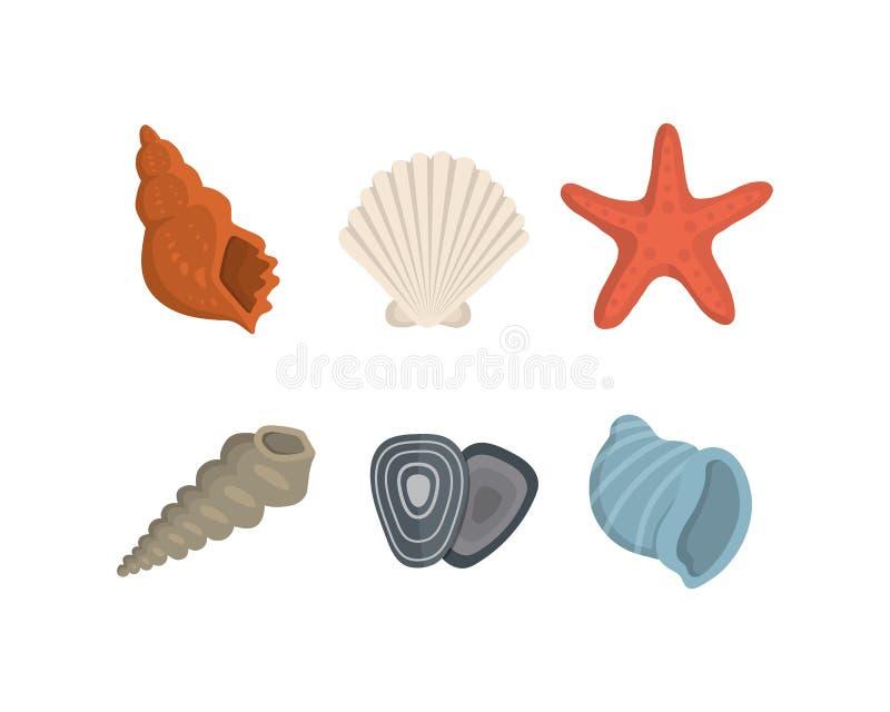 海壳在动画片样式的传染媒介象 设置蛤蜊软体动物 海洋海扇壳 向量例证