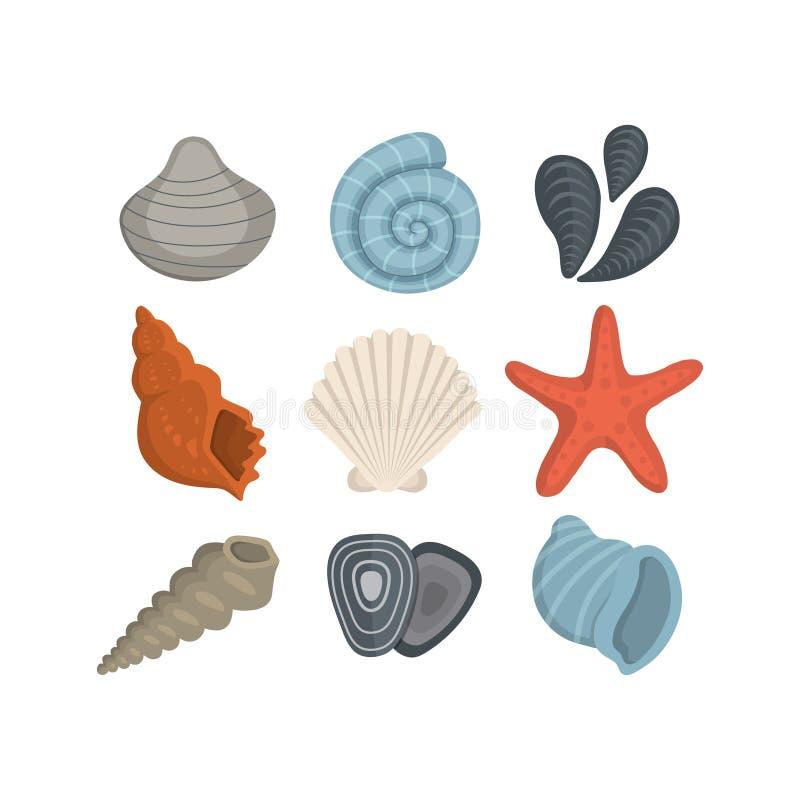 海壳在动画片样式的传染媒介象 设置蛤蜊软体动物 海洋海扇壳 皇族释放例证