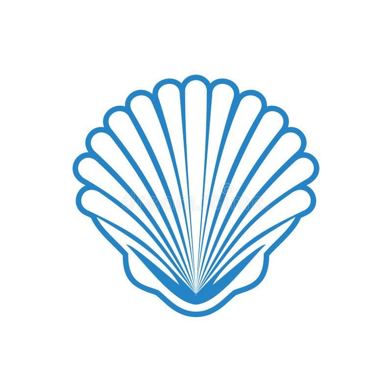 海壳在白色背景的象蓝色图表和网络设计的 E E 皇族释放例证