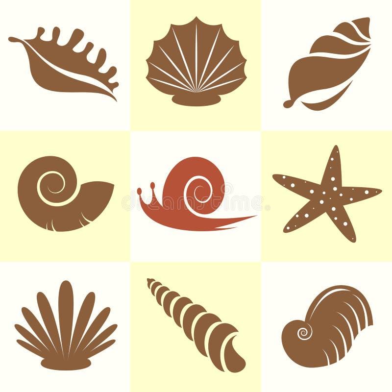 海壳的传染媒介汇集 向量例证