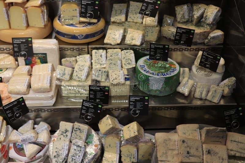 海姆斯泰德,荷兰- 2019年5月26日:在显示的乳酪 免版税库存图片