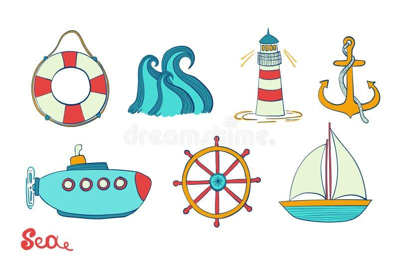 海对象 海洋集合 海洋象 船锚、方向盘和救生圈 灯塔,风船的例证和 库存例证