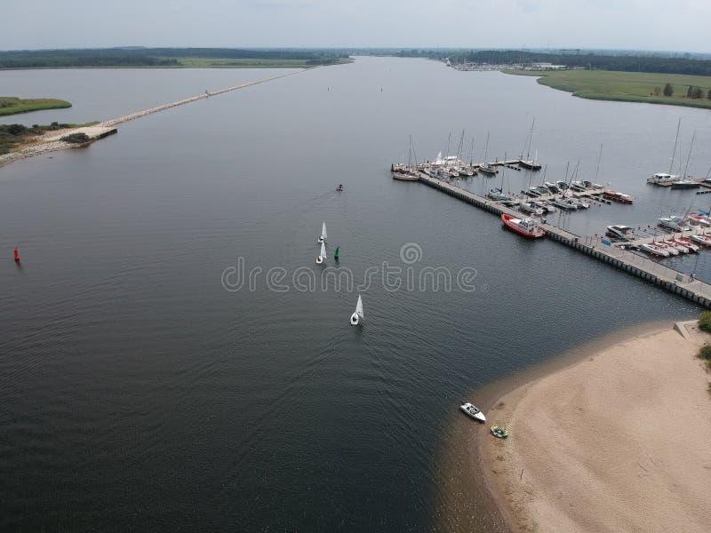 海小游艇船坞高尔基Zachodnie附近的格但斯克 图库摄影