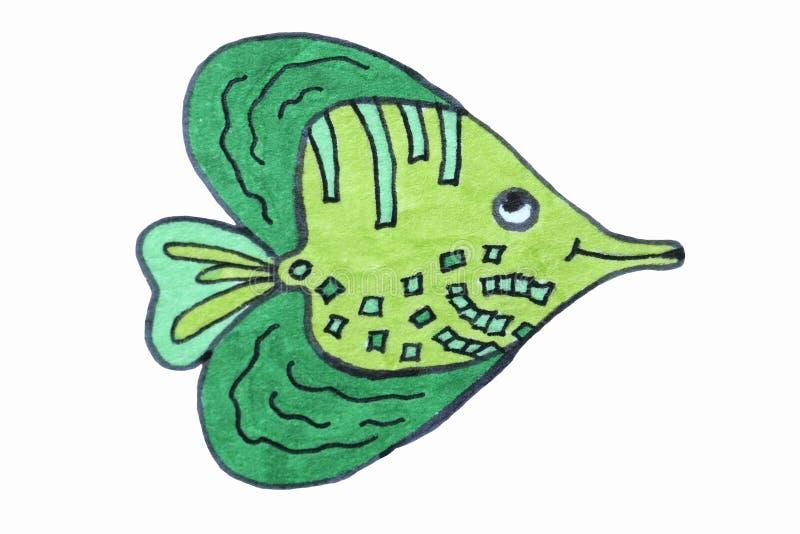 ?? 海居民,鱼 kawaii animais 向量例证
