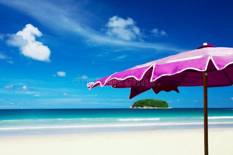 海岛伞 免版税库存图片