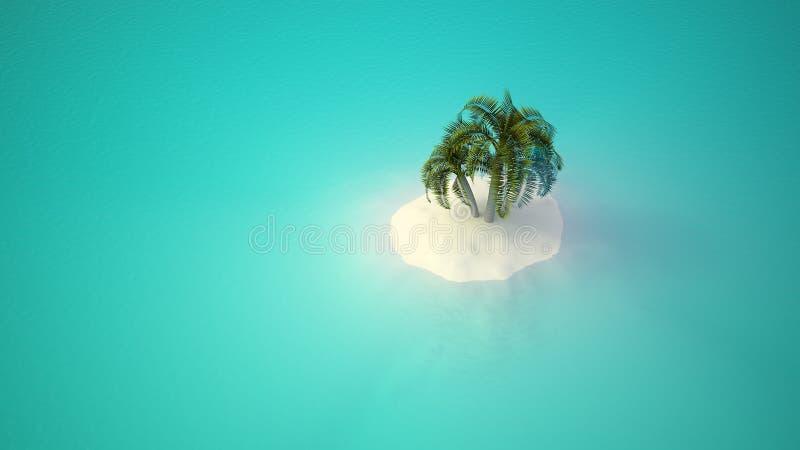 海岛偏僻的棕榈树 向量例证