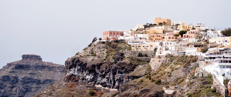 海岛全景santorini视图 图库摄影