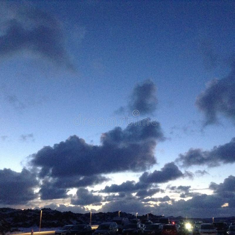 海岛冬天日落 库存照片