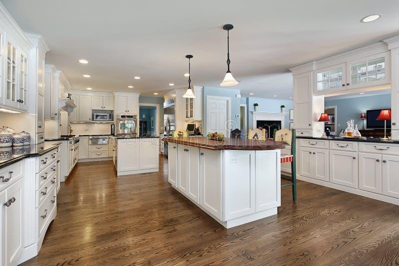 海岛厨房顶层木头 库存图片