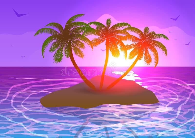 海岛在日落的海洋 库存例证