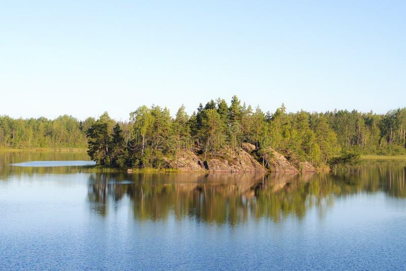 海岛在森林湖 库存照片
