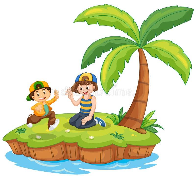 海岛场面的孩子 皇族释放例证