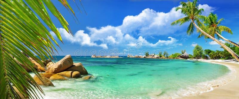 海岛天堂热带的塞舌尔群岛 免版税库存照片